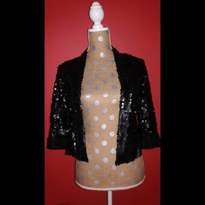 Black Matte Sequin Cropped Open Blazer